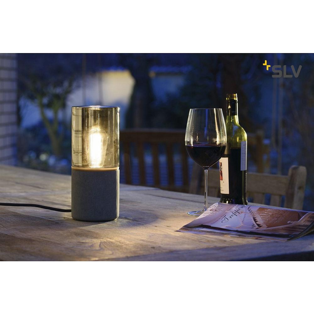 au enleuchte lisenne o tischleuchte rund steingrau e27 mit stecker ip44 ks licht. Black Bedroom Furniture Sets. Home Design Ideas