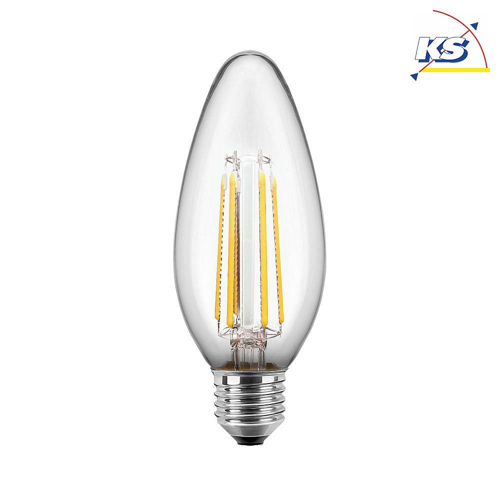 Blulaxa LED Filament Lampe Kerzenform 4,5 Watt E27 warmweiß, Glas (klar) CRI > 90