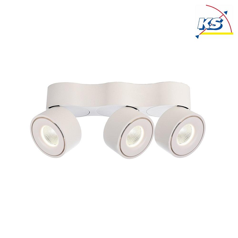 Deko Light LED Deckenleuchte UNI TRIPLE, 20W 20K 20lm 20°, dreh  und  schwenkbar, dimmbar, Weiß matt / Silber