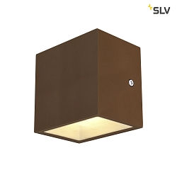 Premium-LED Outdoor Wandleuchte SITRA CUBE WL, UP/DOWN, IP44 IK05, 10W 3000K, 2x 560lm 90°, Rostfarben
