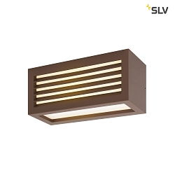 LED Outdoor Wandleuchte BOX-L, IP44 IK05, 19W 3000K 480lm, direkt/indirekt, Rostfarben