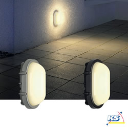 LED Außenleuchte TERANG LED Wand-/Deckenleuchte, oval, SMD LED, 3000K, IP44, silbergrau