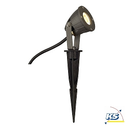 Outdoor LED Spießleuchte NAUTILUS SPIKE KOMPAKT, IP44 IK04, 4.2W 3000K 133lm 30°, mit Steckerkabel, Anthrazit