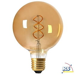 Girard Sudron LED-Leuchtmittel Globe G125 Filament LED TWISTED 4W E27 2000K 200Lm 25.000Std. Dimmbar amber