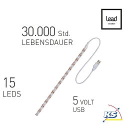Lead Energy LED USB Strip SUCW30, kaltweiß, 1 x 30cm, LEAD DYNAMIC