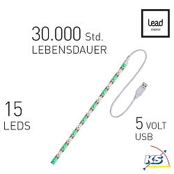 Lead Energy LED USB Strip SUGW Grün-Weiß 1 x 30cm, LEAD DYNAMIC