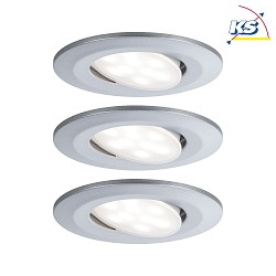 3er-Set Outdoor LED Einbauspot CALLA IP65 DIM, schwenkbar, 230V, je 6.5W 4000K 560lm 100°, dimmbar, Chrom matt