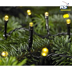 Outdoor LED Akku-Lichterkette FLEX TIME, IP44, 6Vdc, 0.168W 2400K, Kabel schwarz, Länge 1200cm, 120 Brennstellen
