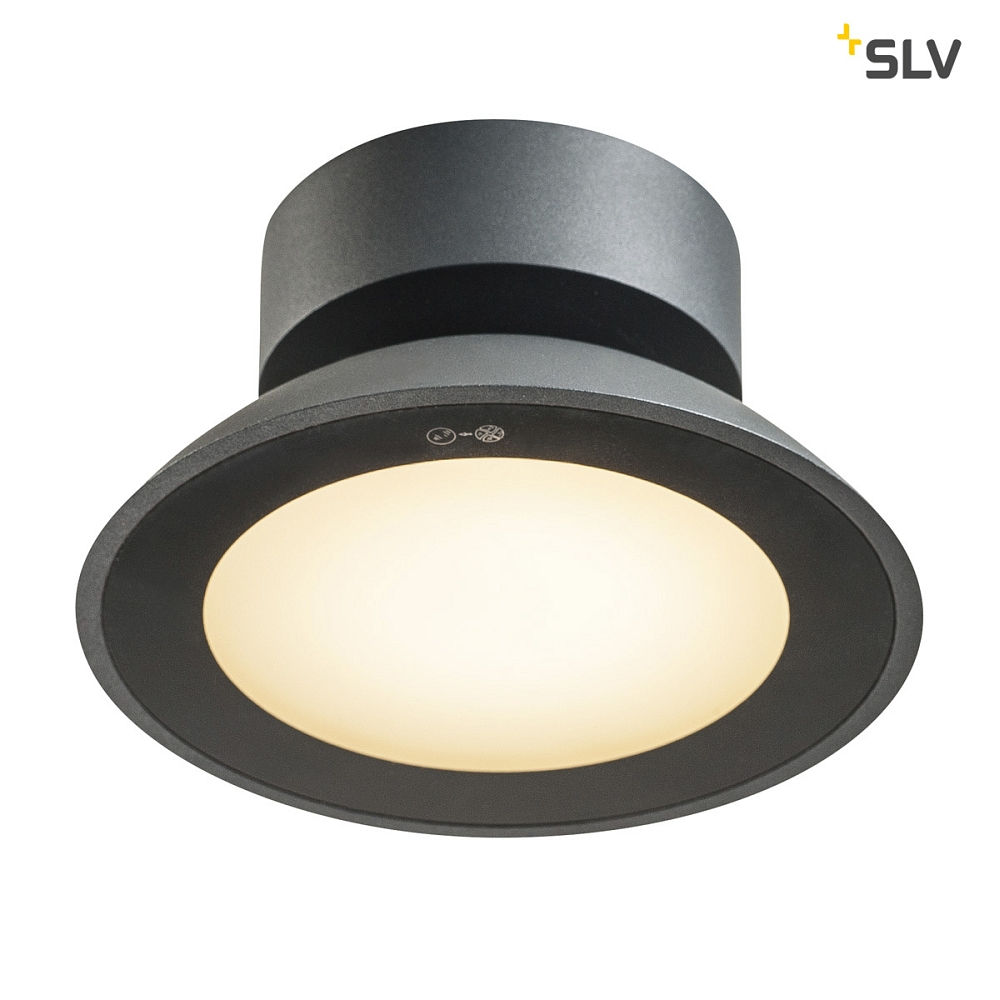 LED Outdoor Deckenaufbauleuchte MALU CL, IP44 IK06, 9.2W 3000K 360lm 100°, Anthrazit