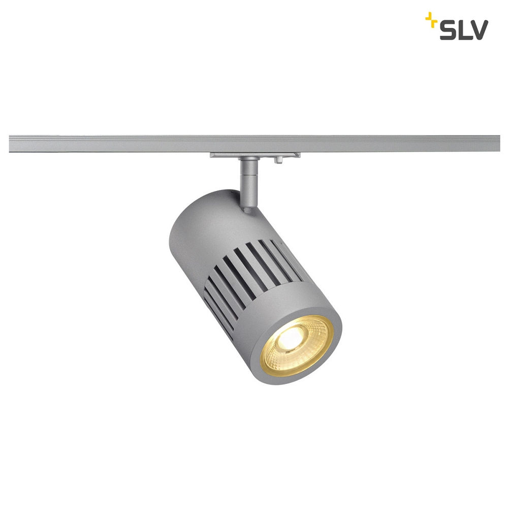LED 1-Phasen-Strahler STRUCTEC LED, rund, 3000K, inkl. 1-Phasen-Adapter, 24W, 36°, 2220lm, silber