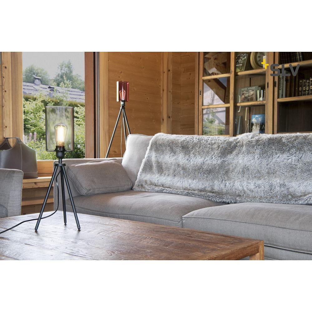 tischleuchte fenda e27 leuchtenfu dreibein ohne schirm schwarz slv ks licht onlineshop. Black Bedroom Furniture Sets. Home Design Ideas