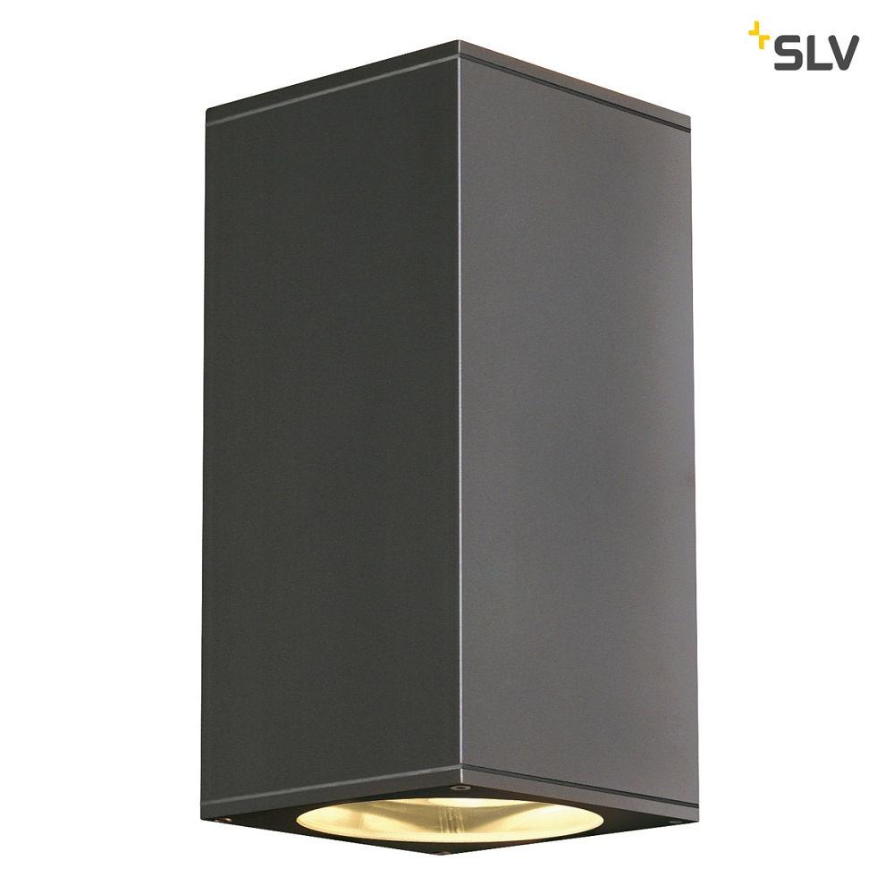 au enleuchte big theo up down out wandleuchte eckig gu10 ip44 anthrazit slv ks licht. Black Bedroom Furniture Sets. Home Design Ideas