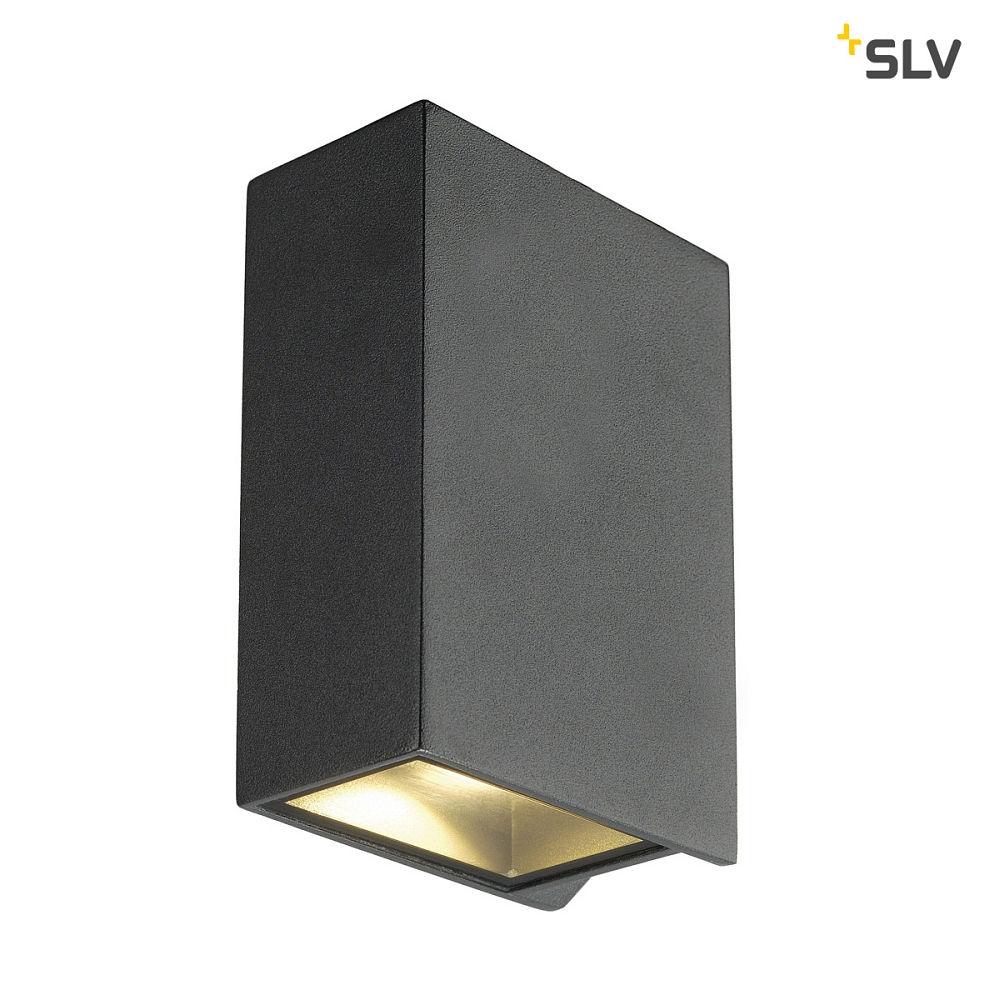 led wandleuchte quad 2 xl eckig 8 6w cob led 3000k 110 anthrazit slv ks licht. Black Bedroom Furniture Sets. Home Design Ideas