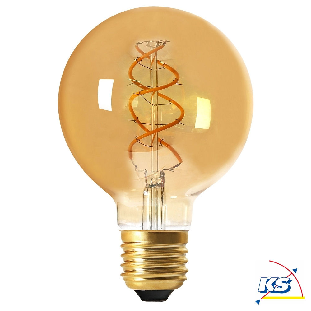 Girard Sudron LED-Leuchtmittel Globe G95 Filament LED TWISTED 4W E27 2000K 200Lm 25.000Std. Dimmbar amber