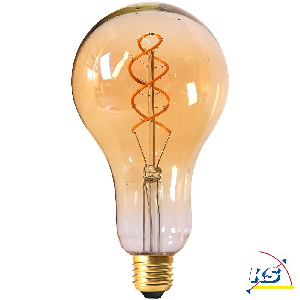 Girard Sudron großes LED-Leuchtmittel Filament LED TWISTED 200mm 4W E27 2000K 200Lm 25.000Std. Dimmbar amber