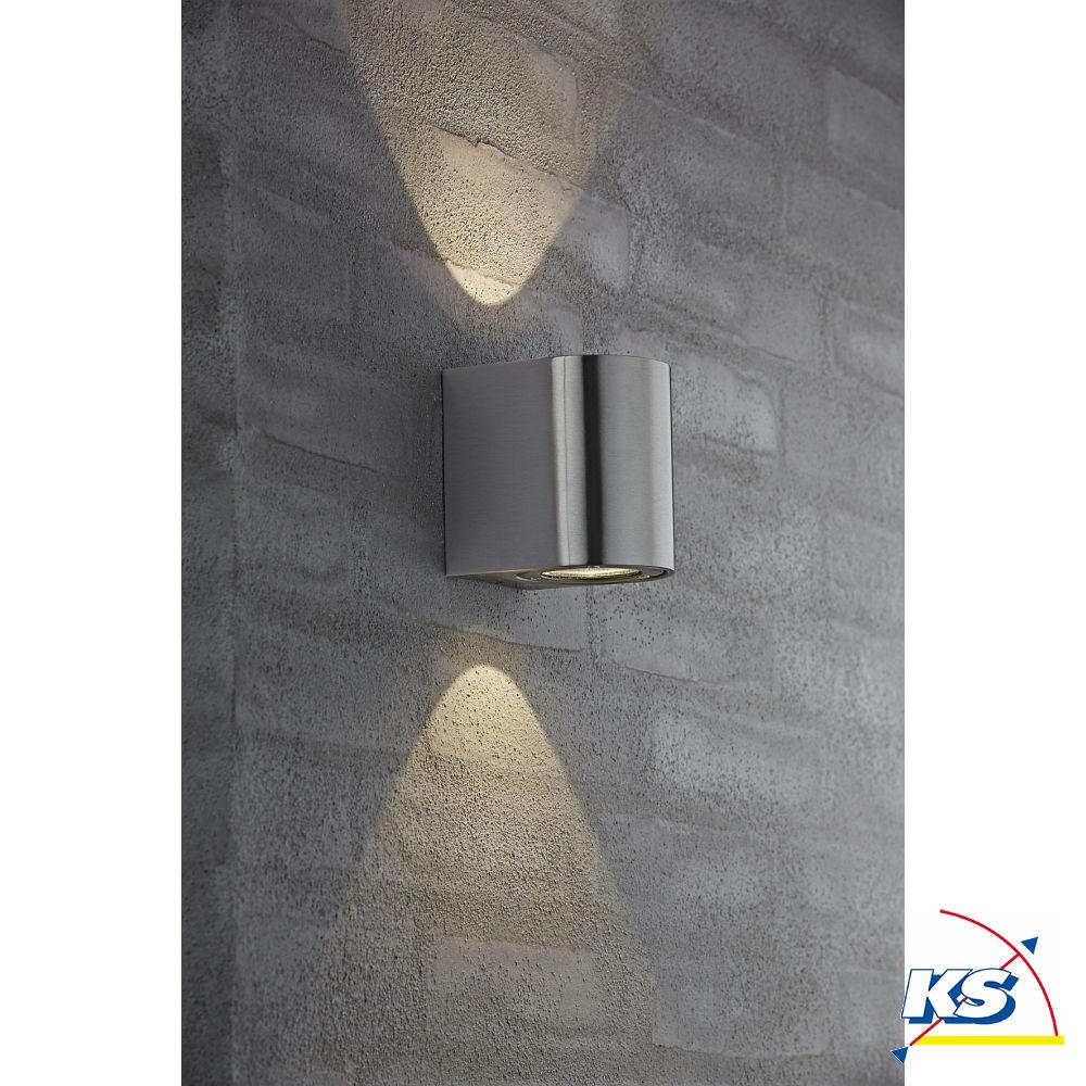 Nordlux LED Wandleuchte CANTO Außenleuchte, 2x3W LED, 2700K, 260lm, IP44,  Edelstahl