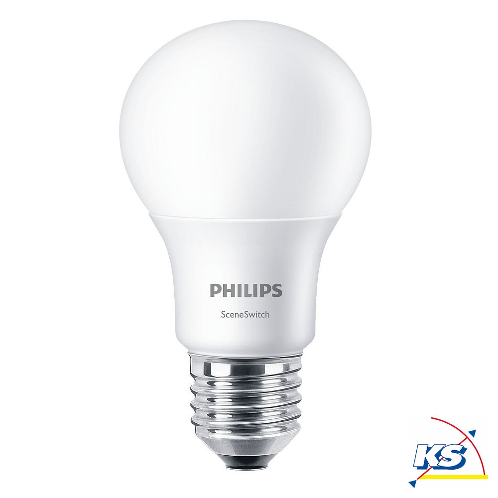 Philips LED-Lampe Scene Switch A60, E27, dimmbar ohne Dimmer in 3 ...