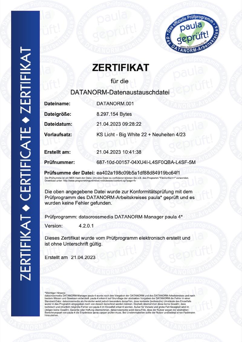 KS Datanorm Zertifikat