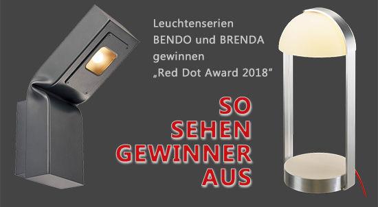 KS Licht- u. Elektrotechnik - So sehen Gewinner aus? - Leuchtenserien BENDO und BRENDA gewinnen Red Dot Award 2018