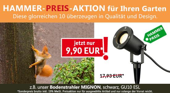 HAMMER-PREIS-AKTION für den Bodenstrahler MIGNON QPAR51 und weitere Außenleuchten