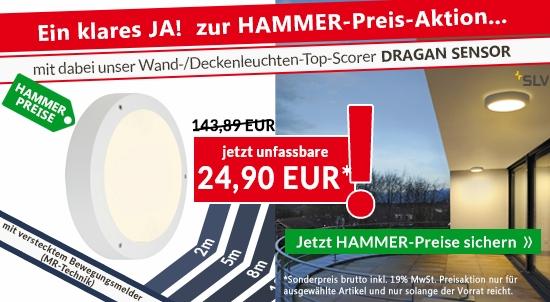 HAMMER-Preise auf ausgewählte OUTDOOR- und INDOOR-Leuchten.