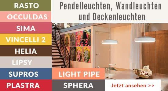 Pendel-, Wand- und Deckenleuchten aus dem Katalog MORE WHITE 2017.