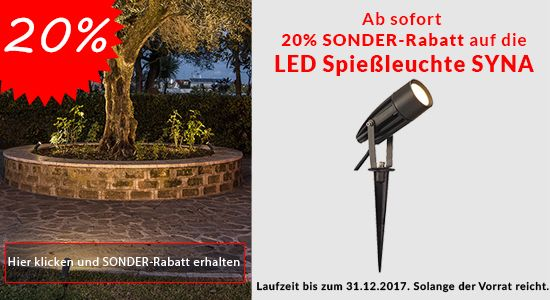 Ab sofort 20% Rabatt auf die LED Spießleuchte SYNA